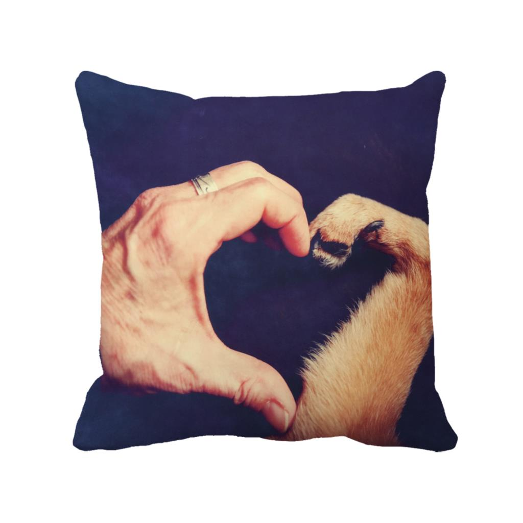 people and dog make up heart shape for love printed customized purple cushion cover home decorative