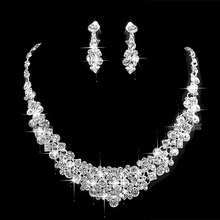 Sparkly Silver Tone Clear Rhinestone Crystal Diamante Wedding Necklace and Earrings Jewlery Sets(China (Mainland))