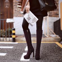 Frauen Fashion Zipper Kniehohe Stiefel Plattform Platz High Heel Stiefel Runde Kappe Herbst Winter Frau Schuhe Plus Größe 43 2018 neue(China)