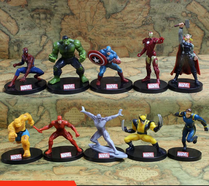 10pcs/set Avengers Superheros Iron Man Spiderman Wolverine Quicksilver Ben Grimm Hulk PVC Action Figure Toy KT402