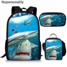 Nopersonality ילדי בית ספר שקיות סט לנערות בני כריש הדפסים ראשוני ילקוט תלמיד תרמיל ילדים תיק Bookbags(China)
