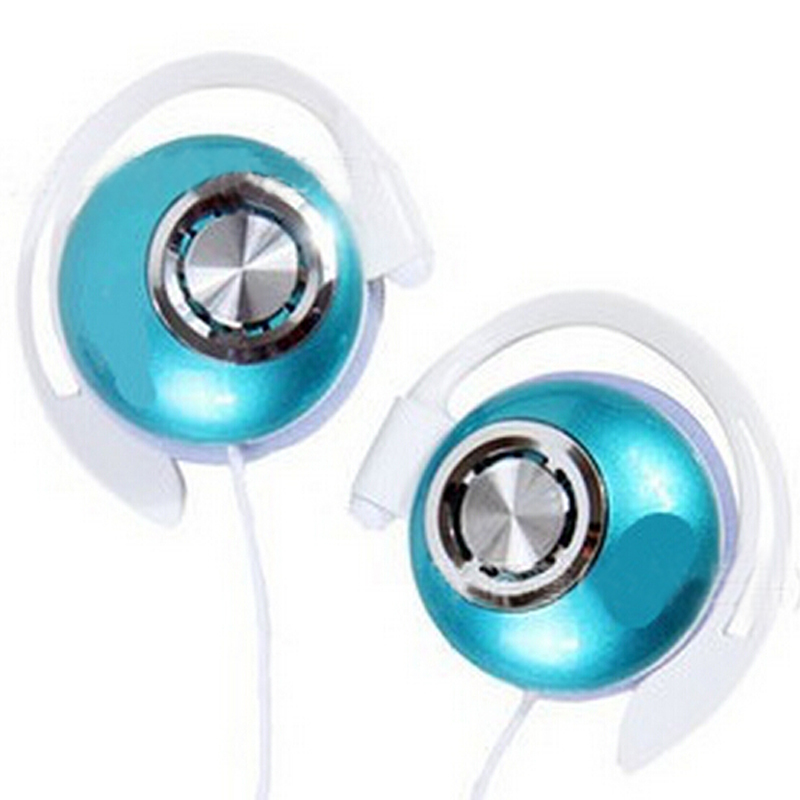 Blue Stereo Super Clear Bass Ear Hook Earphone Clip On Sports Headphones Noise Isolating For MP3 MP4 Mobile Phone, Free Shipping