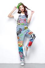 2016 Brand New Womens Denim Overalls Female Loose Causual Summer Color Graffiti Printing Fashion Jeans Bib Jumpsuits J1603