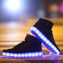 2016 Men&Womens Led Lights casual Shoes High Tops Leisure Simulation Chaussure Femme Usb Con Luz Lumineuse zapatillas led hombre