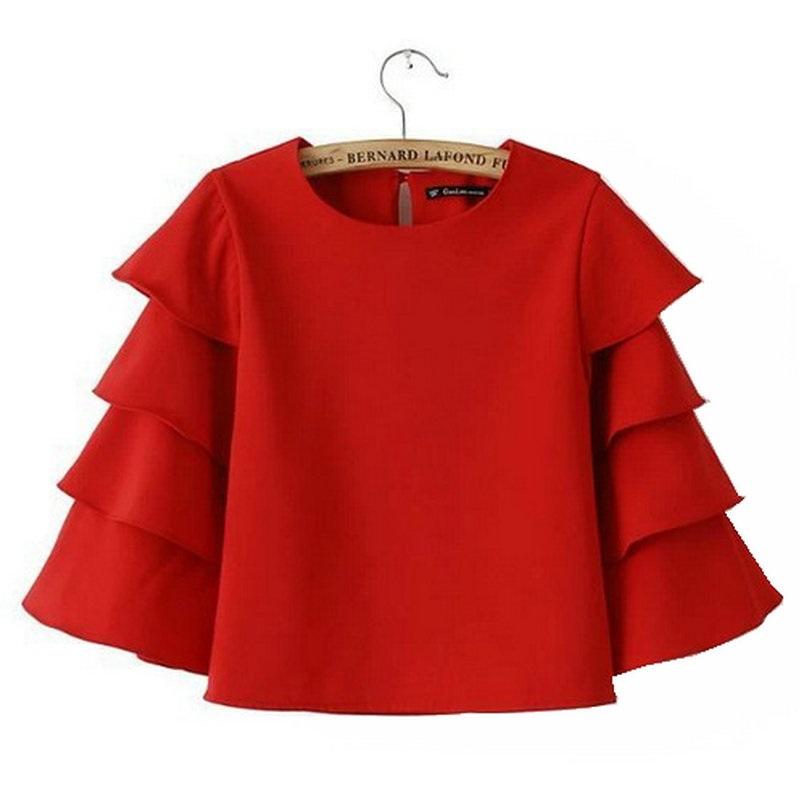 Buy Fashion Women Sweet Ruffles Red