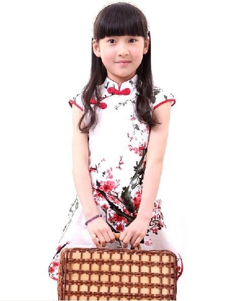 Child cheongsam children's clothing cheongsam tang suit female  guzheng summer costume cheongsam dress