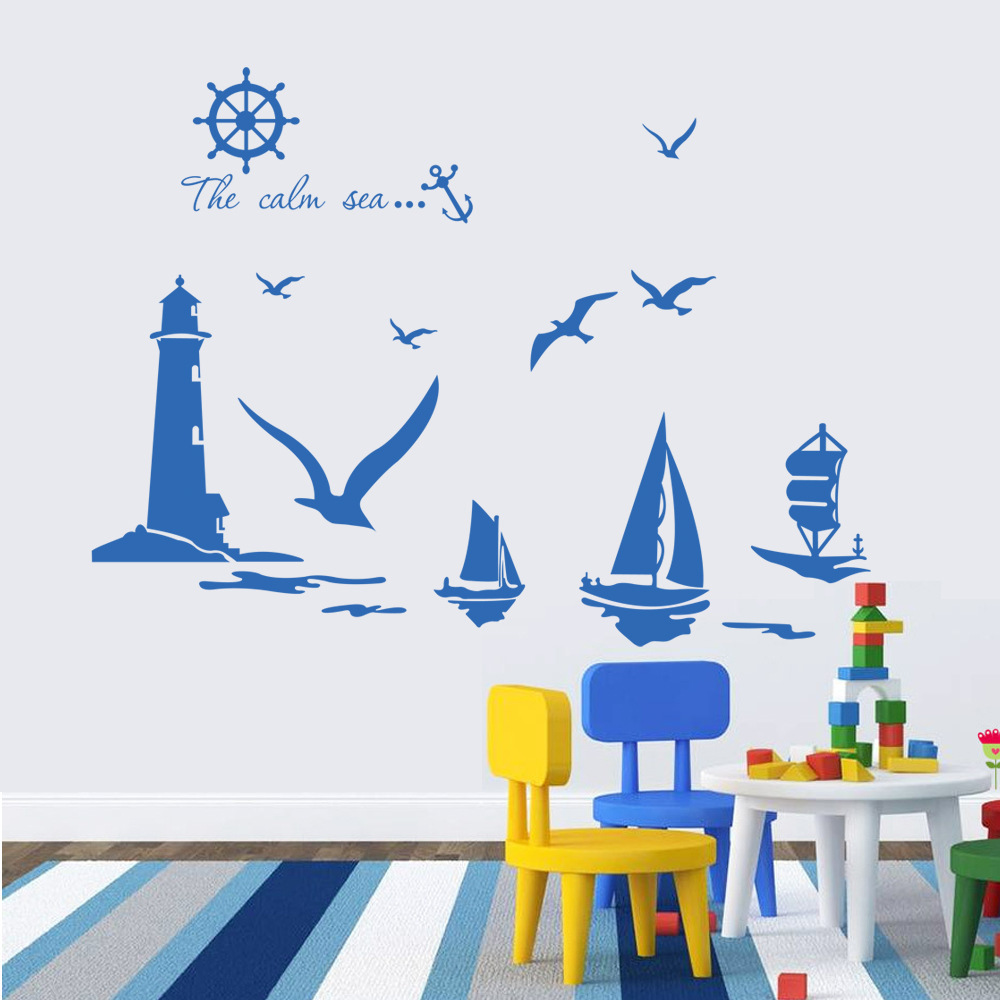 Vinyl wall stickers home decor sailboat lighthouse seagull for Stickers deco