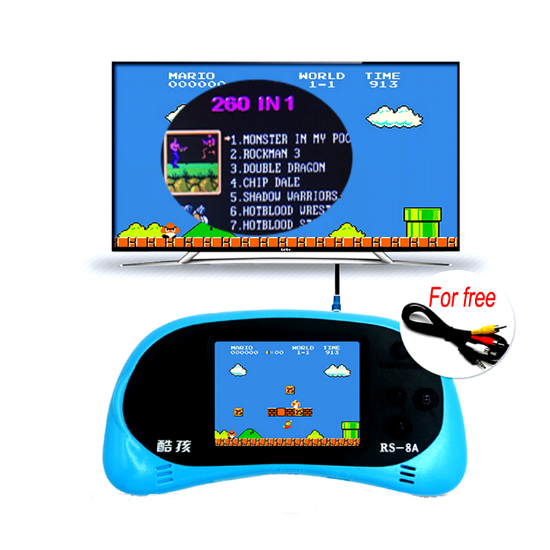 2.5 Inch 8 Bit Handheld Game Player Built-in 260 Classic Games Video Game Console English Support TV Output Children Toy Gift(China (Mainland))