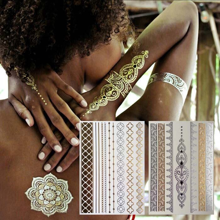 11 Pcs jóias ouro metálico etiqueta do tatuagem - Body Art pele temporária Flash Tribal tatuagens à prova d ' água Metalic gargantilha Tatoo(China (Mainland))