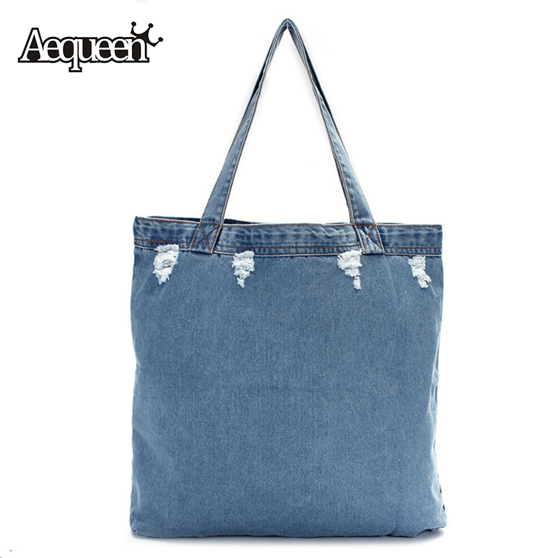 Women Shoulder Bag Washed Denim Canvas Single Casual Girl Uncovered Shopping Travel Handbag Punk Style Blue Color Trend Fabric(China (Mainland))