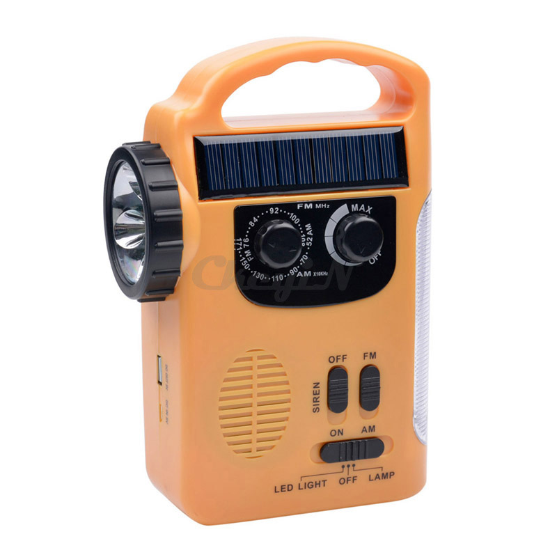Free shipping Portable Emergency Solar Hand Crank AM/FM Radio Flashlight Smart Phone Charger Power Bank with Cables SD081Y-48W(China (Mainland))