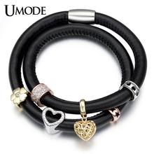 UMODE 2 Layers Design Black Real Leather Heart Flower Medal CZ Diamond Charms Set DIY Charm Bracelets for Women Pulseiras UB2012(China (Mainland))