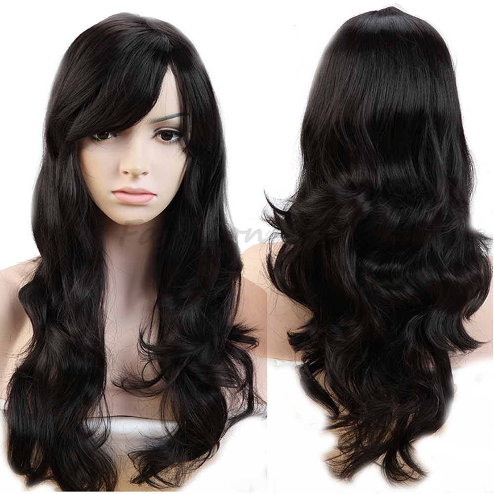 "19"" Long Popular Cosplay Party Full Wigs Natural Curly Wavy Heat Resistant Synthetic Hair Wig Pretty For All Momen Dark Black(China (Mainland))"