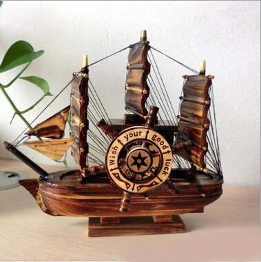 Wedding Gift Music Box : crafts Wooden pirate music box rotating windmill birthday wedding gift ...