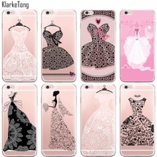 Pretty Sexy Lace Wedding Dress Silicone Case For iPhone 6 6S Transparent Clear TPU Protecttive Phone Back Cover(China (Mainland))