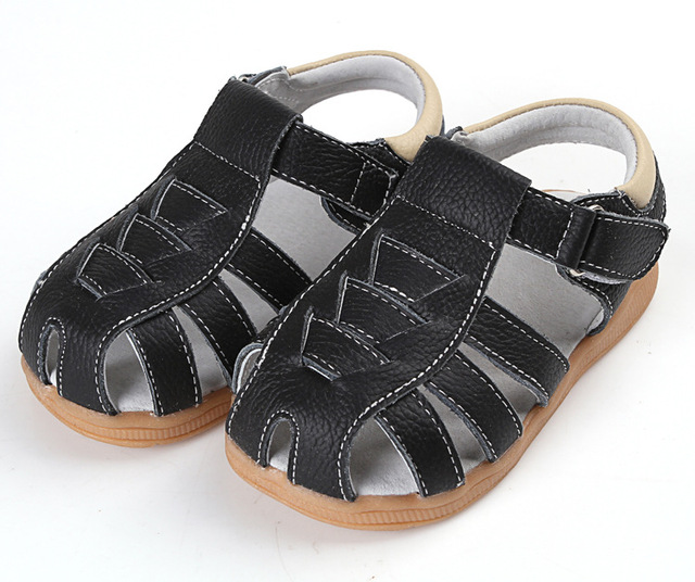 2016 летом детская обувь для мальчиков подлинных кожаные сандалии маленький детские ...