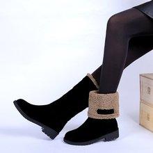 Plus size 35-4 0 Vrouwen Casual Winter warm Bont Sneeuw Mid-Kalf Laarzen schoenen vrouwen Vrouwelijke Flats ronde Neus Werk laarzen schoenen mujer W469(China)