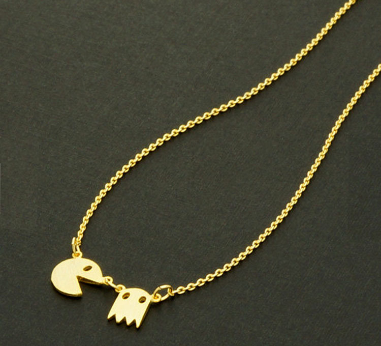 Fashion Statement necklace 2015 Gold Silver Pac Man Retro Necklace Fun and cute Angry Ghost Necklace