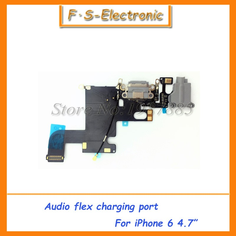 20pcs/lot Charging flex cable for iphone 6 4.7' headphone Audio Jack USB port dock connector flex cable black white for 4.7Inch(China (Mainland))