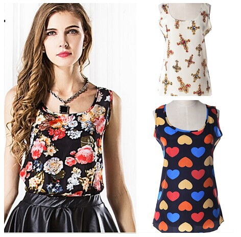 2014 plus size summer women clothing chiffon sleeveless candy color causal Tops shirt big yards - W&M-3 store