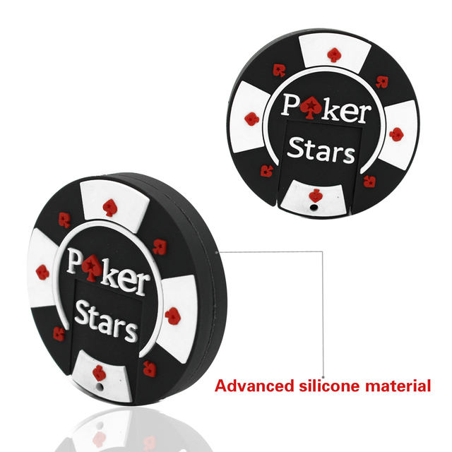 Rubber Poker Stars USB flash pen drive