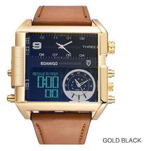 BOAMIGO marque hommes montres de sport 3 fuseau horaire grand homme mode montre LED militaire en cuir montres à quartz relogio masculino(China)