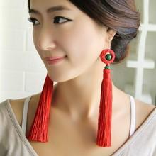 carved lacquerwear vintage earrings long  fringe earrings red,Handmade NATIONAL ethnic Jewelry tassel earrings(China (Mainland))