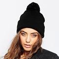 Nature Color Black Gray Caps Pom Pom Autumn Winter Knitted Warm Beanies for Men Women Bonnet