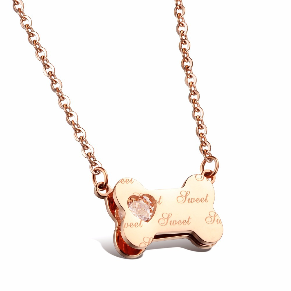 Famous Brand Lucky Dog Bone Pendant Necklaces Cute Rose Gold/Silver Plated Full Steel + Heart CZ Diamond Women Jewelry,JM989X(China (Mainland))