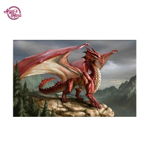 Diy diamond painting dragon 5D Diamond embroidery animal cross stitch round red - Yiwu Chunfeng Painting Factory store