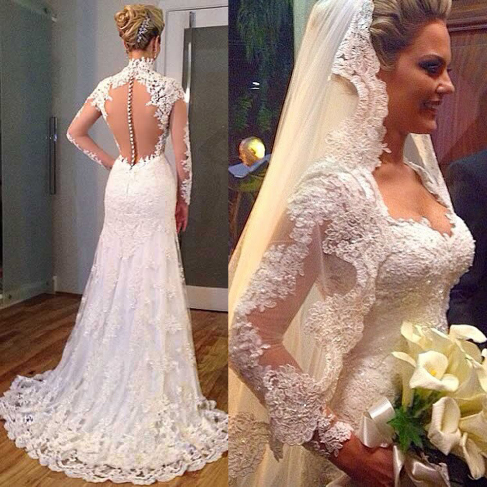 Long sleeve lace backless wedding dress gown and dress for Lace sleeve backless wedding dress