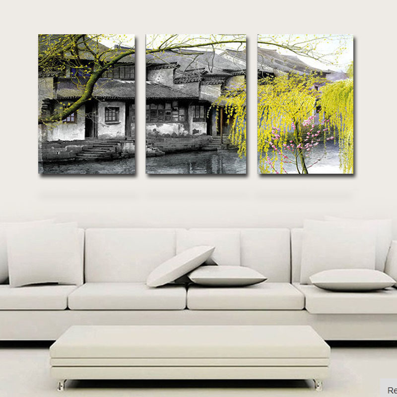3 Panels Home Decoration Art Wall Pictures House Landscape Canvas Print Chinese Traditional Painting Wall Paintings(China (Mainland))