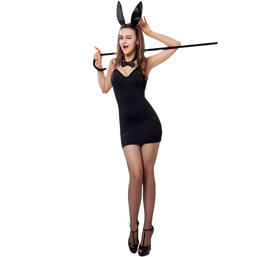 100% Spandex Elasticity Sexy Easter Bunny Costume Suit 2015 Fantasi Halloween Mascot Animal Cosplay Nightgowns Dresses For Women(China (Mainland))