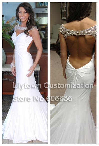 New 2014 Sheath Beach Style Beads Open Back Chiffon Sale Wedding Dresses Bridal Wear Court Train Good Quality Lilytown(China (Mainland))