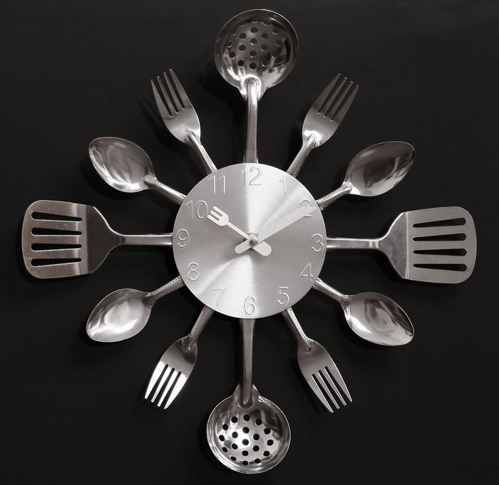 A002 quartz mute wall clocks Knife Fork Spoon Originality clock kitchen knives Restaurant home decoration - Artful store