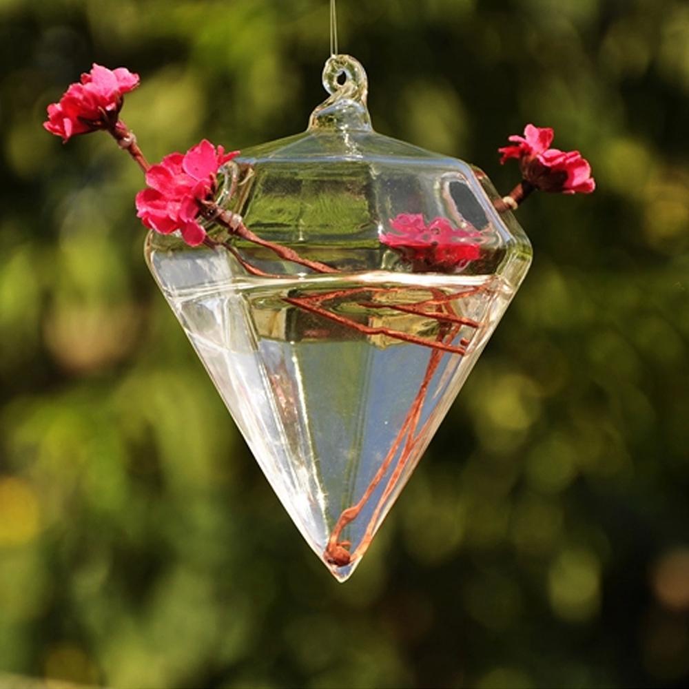 Hanging diamond crystal glass planter vase pot terrarium for Jardin glass vases 7 in