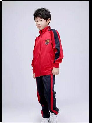 Best quality Kids barca football tracksuit Children four color messi soccer Jacket & Pants set barca Youth sportwear uniform(China (Mainland))