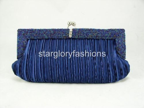 FREE S/H Navy Blue Beaded Frame Wedding Evening Purse Clutch Bag 11 Colors - StarGlory Fashion Bags store