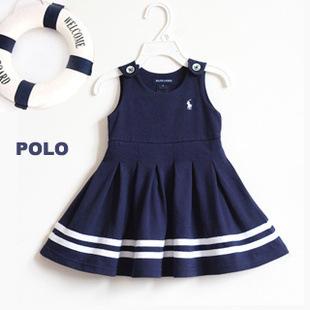 Children Clothes 2016 New Summer Girls Cute Polo Navy Vest Dress High Qualiry Cotton Baby Girls Dress Sleeveless(China (Mainland))