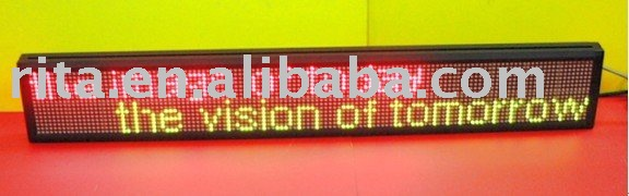 red and green one line led moving sign,10 characters with 114.3mm high font;P7.62mm;Pixel Resolution:16*128;160*1008*80mm(China (Mainland))