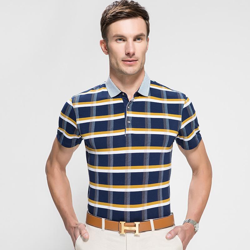 2015 summer men t shirt short sleeve t shirt men lattice for High end men s dress shirts