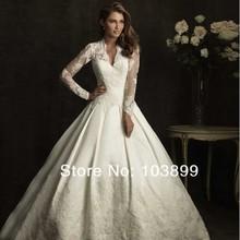 Royal Ball Gowns Celebrity Dress Satin Lace Long Sleeve Kate Middleton Wedding Dress Free Shipping(China (Mainland))