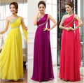 Free shipping 2015 hot custom made fancy champagne one shoulder draped yellow evening gown dress illusion