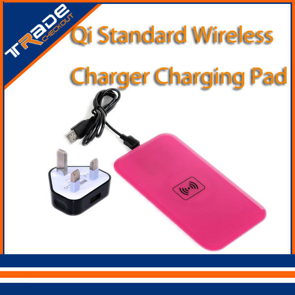 Pink Qi Standard Wireless Charger Charging Pad Card Receiver Samsung Galaxy S5 i9600 freeshipping - Tradecheckout store