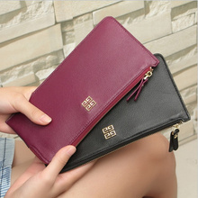 Hot Selling Woman genuine Leather Long Fashion zipper Wallets cow leather Purses Womens Korean Famous Brand ultra thin handbag