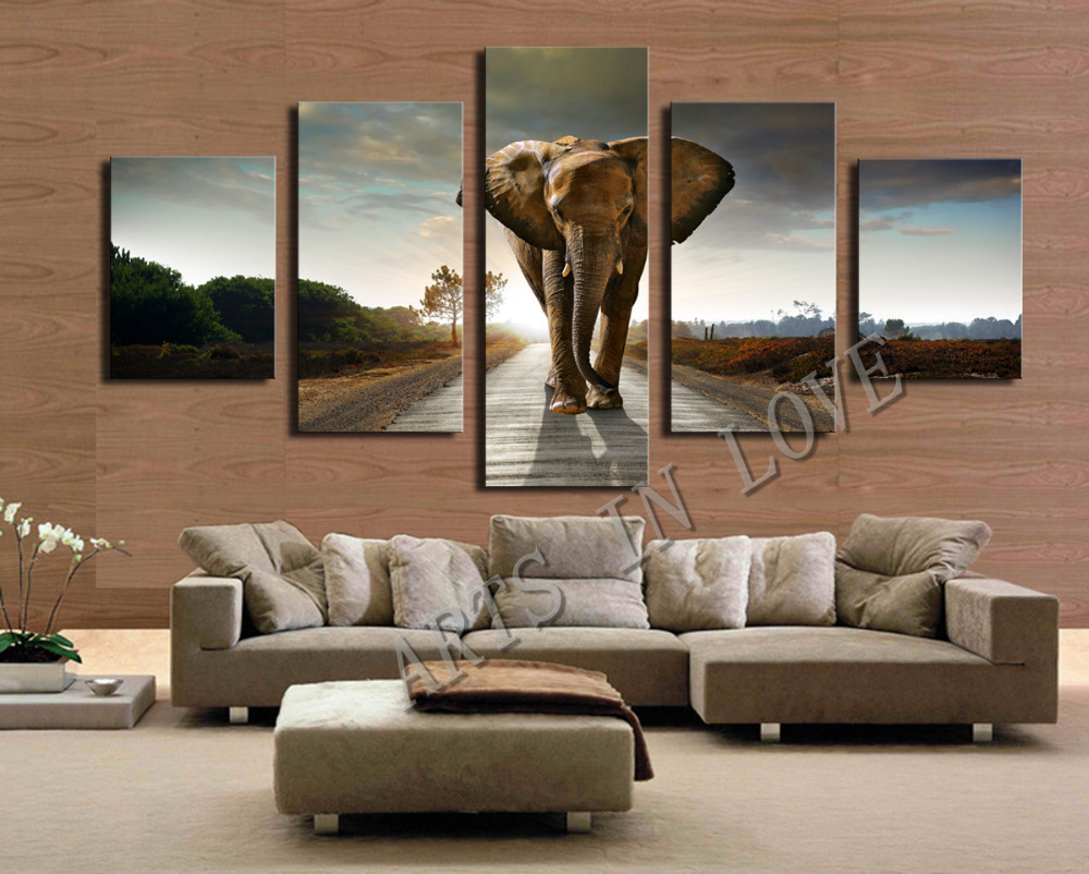 5 Ppcs Elephant Painting Canvas Wall Art Picture Home Decoration Living Room