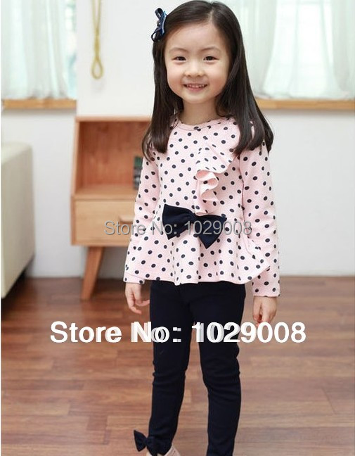 girls clohting sets spring autumn children costumes clothes,kids wear outfits Bow/bowknot long-sleeve stripe suit - 6668888 Store store