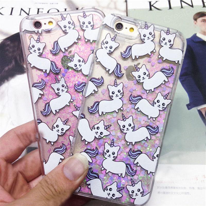 Cartoon Unicorn Printed Liquid Glitter Case Cover for iPhone 6 6S Plus 5s(China (Mainland))