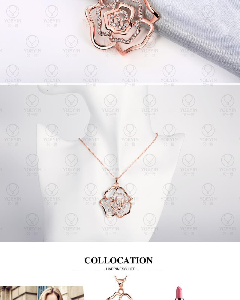 IVY: 2017 New Arrival Trendy Rose gold Plated Link chain Flower pendant CZ Necklace Free Shipping