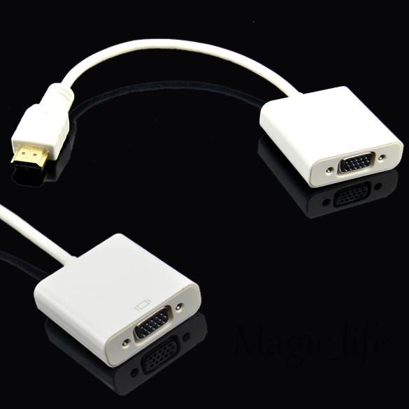 White Micro DMI Male VGA Female Adapter Cable Convertor PC DVD Video HDMI Converter 6345 - Magic_life store